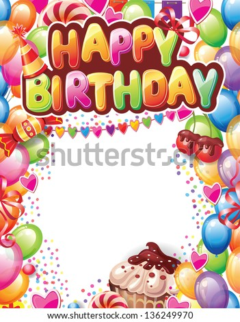 Template for Happy birthday card - stock vector