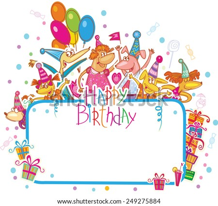 Template for Happy birthday card with place for text - stock vector