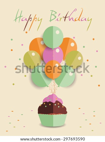 Template for happy birthday with origamy balloon and  cupcake - stock vector