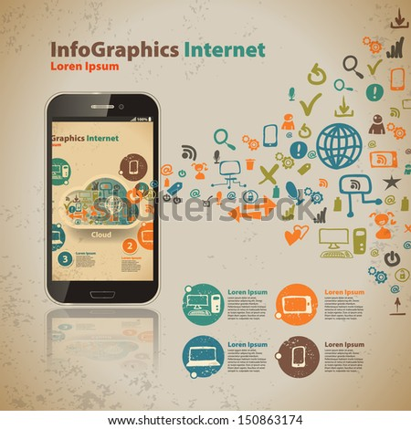 Template for infographic for cloud computer technology in vintage style - stock vector