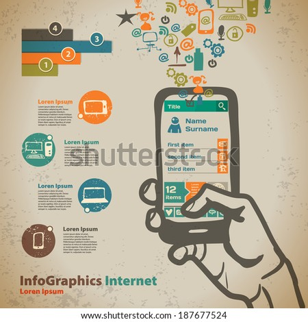 Template for infographic with hand with smartphone in vintage style - stock vector