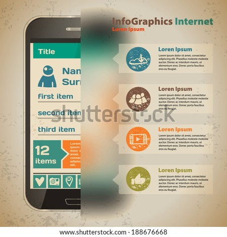 Template for infographic with smartphone in vintage style - stock vector