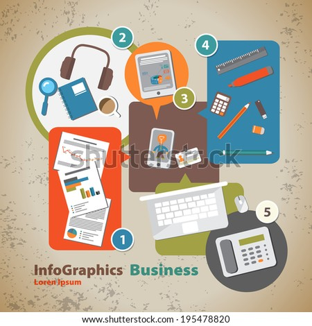 Template for infographic with symbol of the business and internet in vintage style - stock vector
