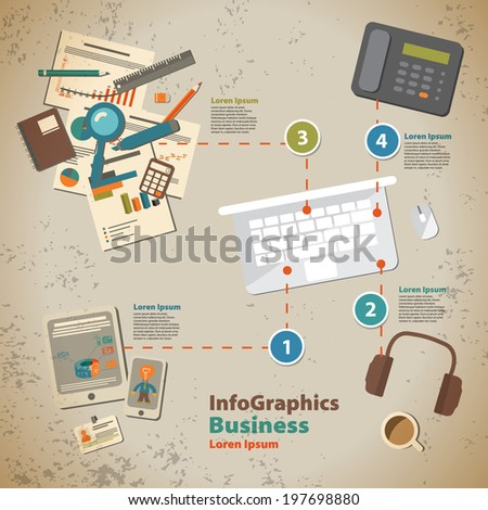 Template for infographic with symbol of the business process in vintage style - stock vector