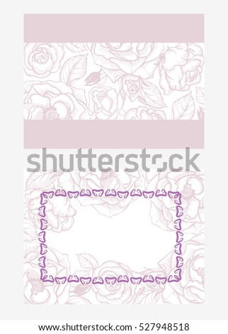 Template for invitation, greeting card with flowers and buds of roses, vector illustration