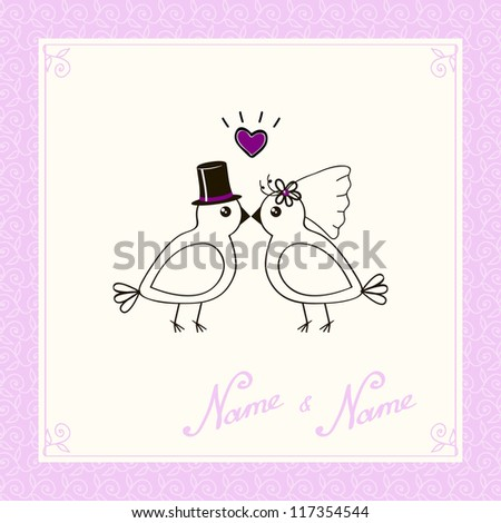 template for invitation on wedding with birdies in pink color - stock vector