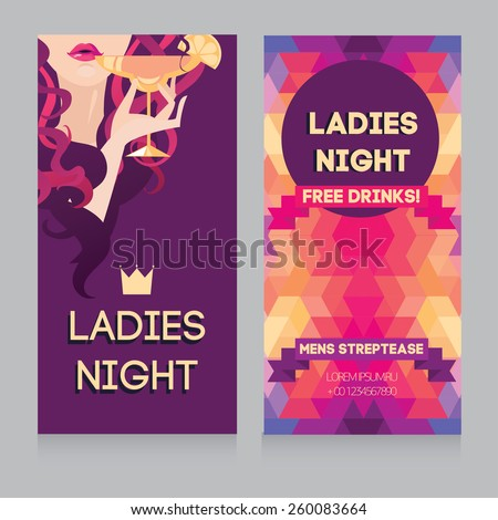 template for Ladies night party with beautiful girl drinking margarita, vector illustration - stock vector
