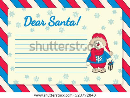 Template letter santa illustration snowman lamp stock vector template for letter to santa with illustration of snowman with lamp spiritdancerdesigns Gallery