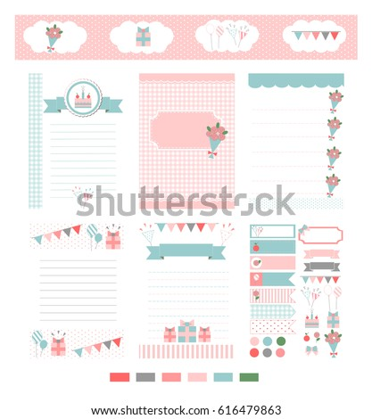 Template Notebook Paper Diary Scrapbook Card Stock Vector