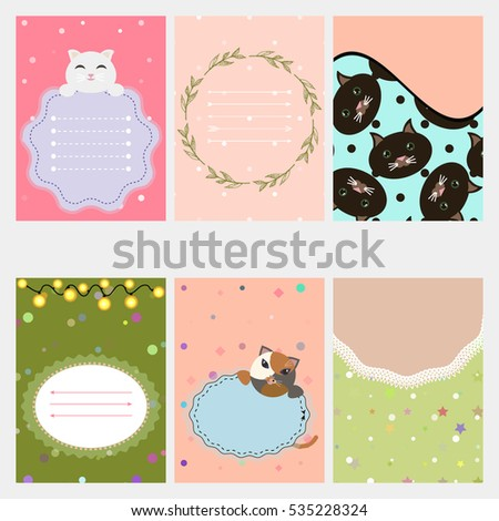 Template for scrapbook, wrapping,invitations cards, notes, stickers, labels, tags withillustrations