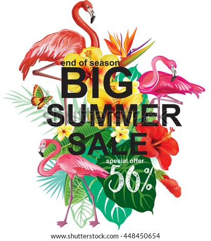 Template for summer sale Advertisement - stock vector