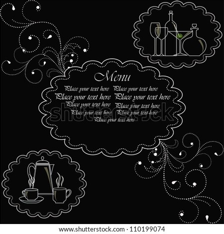 Template for the menu. A white outline of ware on a black background with curls