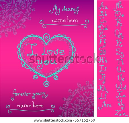 Template valentines greeting card handwritten alphabet stock vector template for valentines greeting card with handwritten alphabet compose names from attached letters doodle spiritdancerdesigns Gallery