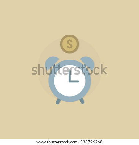 Template for web. Colorful icon. Vector object on light background. Graphic design. Company logo. Alarm clock and a coin. - stock vector
