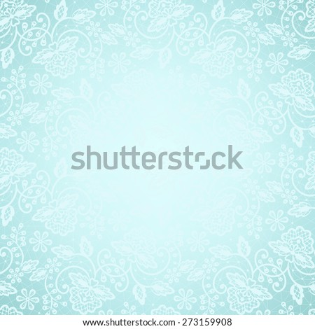 Template for wedding, invitation or greeting card with white lace frame on blue background - stock vector