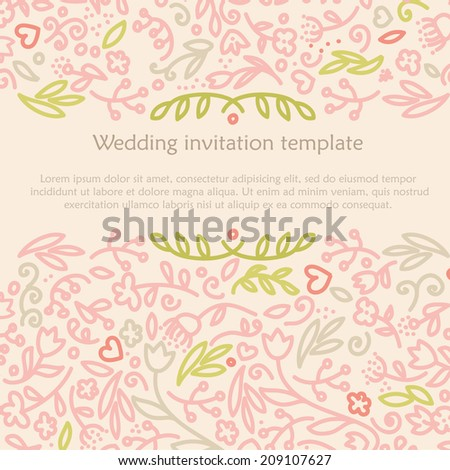 template for wedding invitation, vector hand drawn illustration