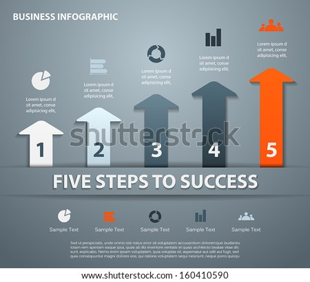 Template for your business presentation with arrows and text areas (info graphic) - stock vector