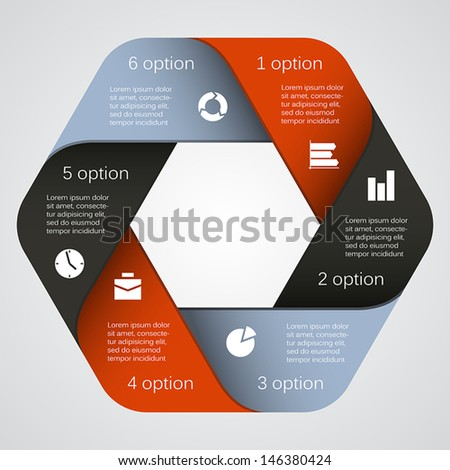 Template for your business presentation with six parts and text areas (info graphic) - stock vector