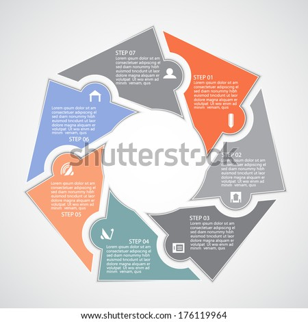 Template for your project, seven steps - stock vector