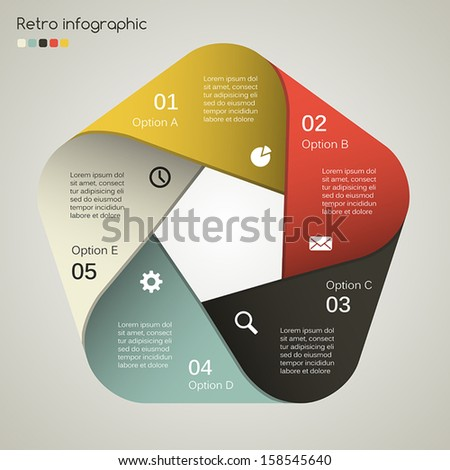 Template for your retro business presentation with text areas (info graphic) - stock vector