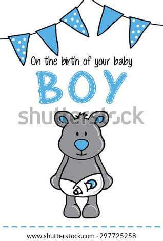 Template frame design for boy baby arrival - stock vector