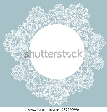 Template frame  design for card. Lace floral frame. - stock vector