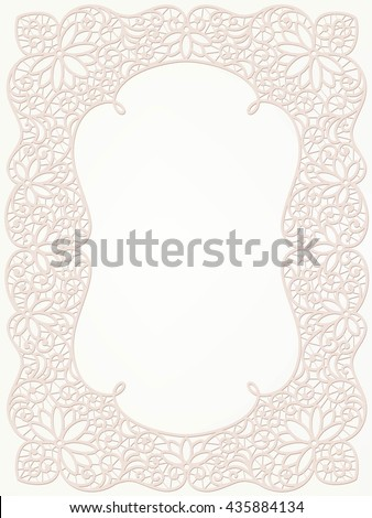 Template frame  design for card. Lace frame. - stock vector