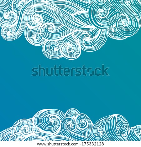 Template frame design for card with hand drawn waves made in vector .Abstract decoration, invitation card with ornate detailed ornament. - stock vector