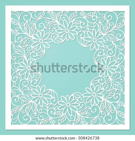 Template frame design for floral card. - stock vector