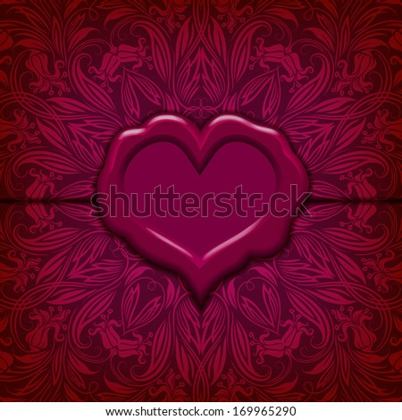 Template frame design for Valentine's Day card . Ornate love letter with wax seal. Ornamental floral background. Vector illustration EPS10. - stock vector