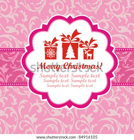 Template frame design for xmas card. Vector Illustration