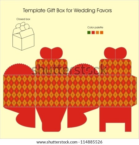 Template Gift Box Christmas Present Stock Vector 114885526 ...