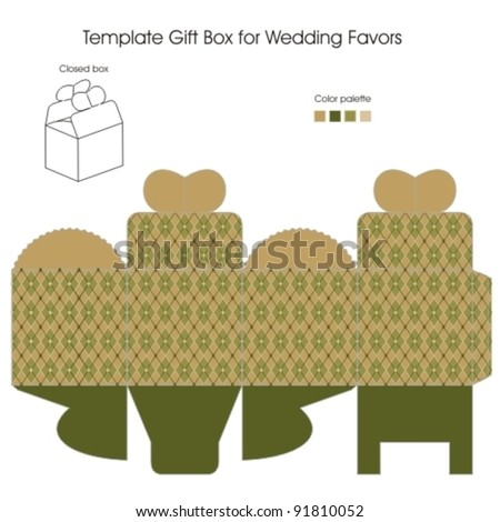 Template gift box for Wedding Favors - stock vector