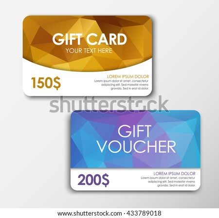 Template Gift Card. Design gold gift card, and the blue polygon gift voucher. Gift card of $ 150 face value, 200. Vector illustration. Set - stock vector