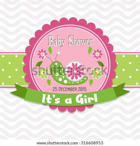 Template greeting card -  baby shower, vector illustration