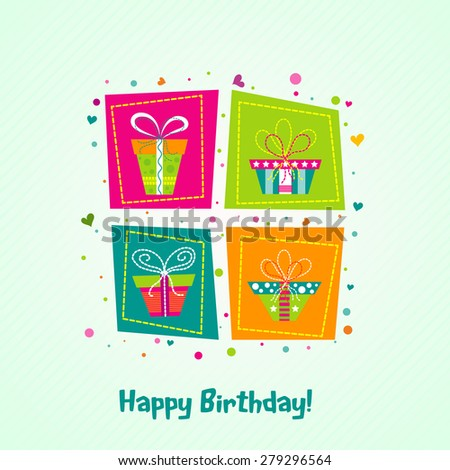 Template greeting card, birthday, vector illustration