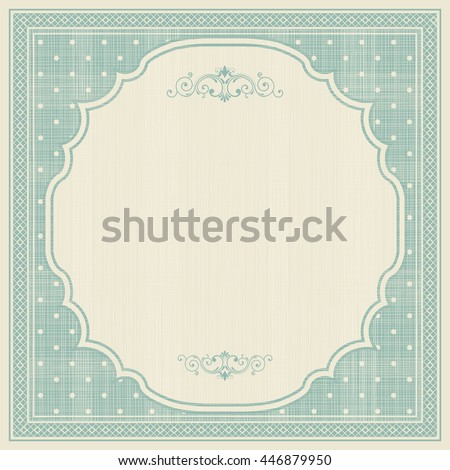 Template greeting card, invitation and advertising banner, brochure with space for text. Vintage invitation  card with polka dots pattern and frame. Can be use for wedding, birthday, baby shower - stock vector