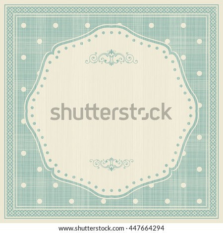 Template greeting card, invitation and advertising banner, brochure with space for text. Vintage invitation  card with polka dot pattern and frame. Can be use for wedding, birthday, baby shower, menu  - stock vector
