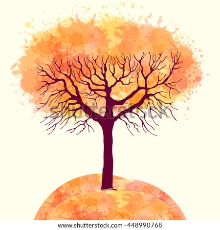 Template greeting card or banner with a tree. Autumn. Seasons - stock vector