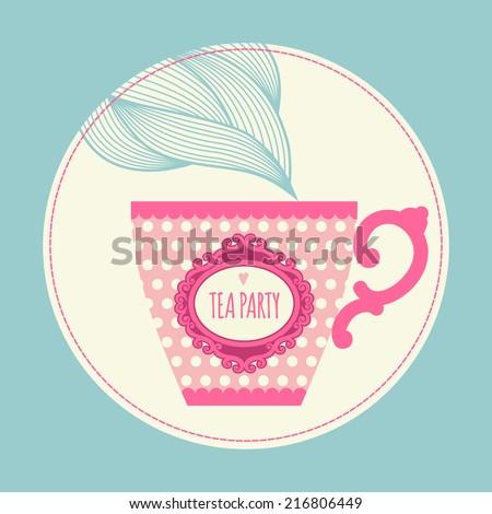 template greeting card invitation teacup tea stock vector 216806449