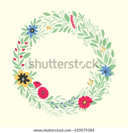 Template greeting card or invitation with flowers. Freehand drawing - stock vector