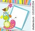 Template greeting card, vector scrap illustration - stock vector