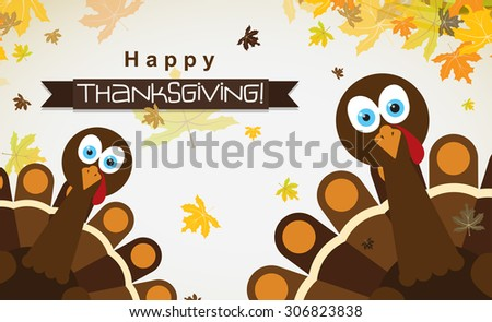 Template greeting card with a happy Thanksgiving turkey, vector illustration