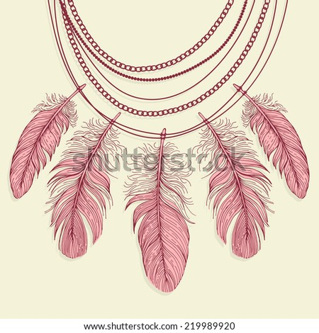 Template greeting card with a necklace made ??of feathers. - stock vector