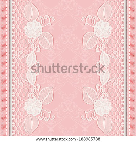 Template greeting or invitation card with lace fabric. Pink background. Vector illustration. - stock vector