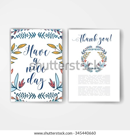 Template. Hand drawn Flower card, lettering text. Summer pattern. Graphic collection with leaves and flowers, drawing elements. Spring or summer design for invitation, wedding or greeting card - stock vector