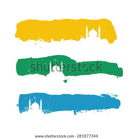 Template horizontal blank greetings contour silhouette header line illustration with islam east style. May use for web or print - stock vector