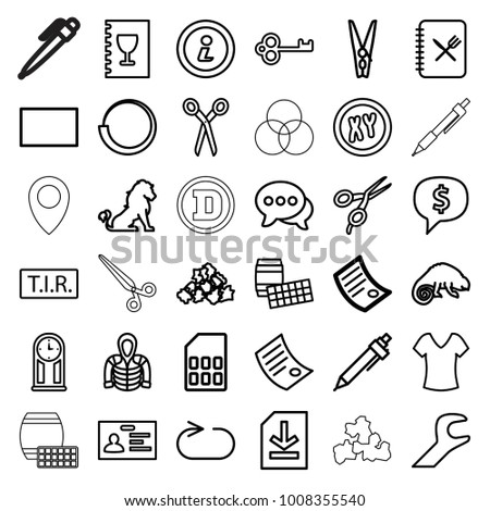 Template Icons Set 36 Editable Outline Stock Vector (2018 ...