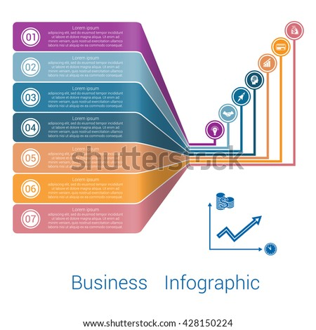 Template Infographic Lines Strips Perspective seven position.  - stock vector
