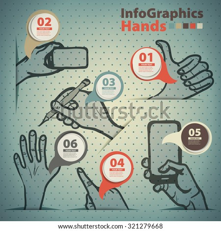 Template infographic on the prevalence of hand gestures in vintage style - stock vector